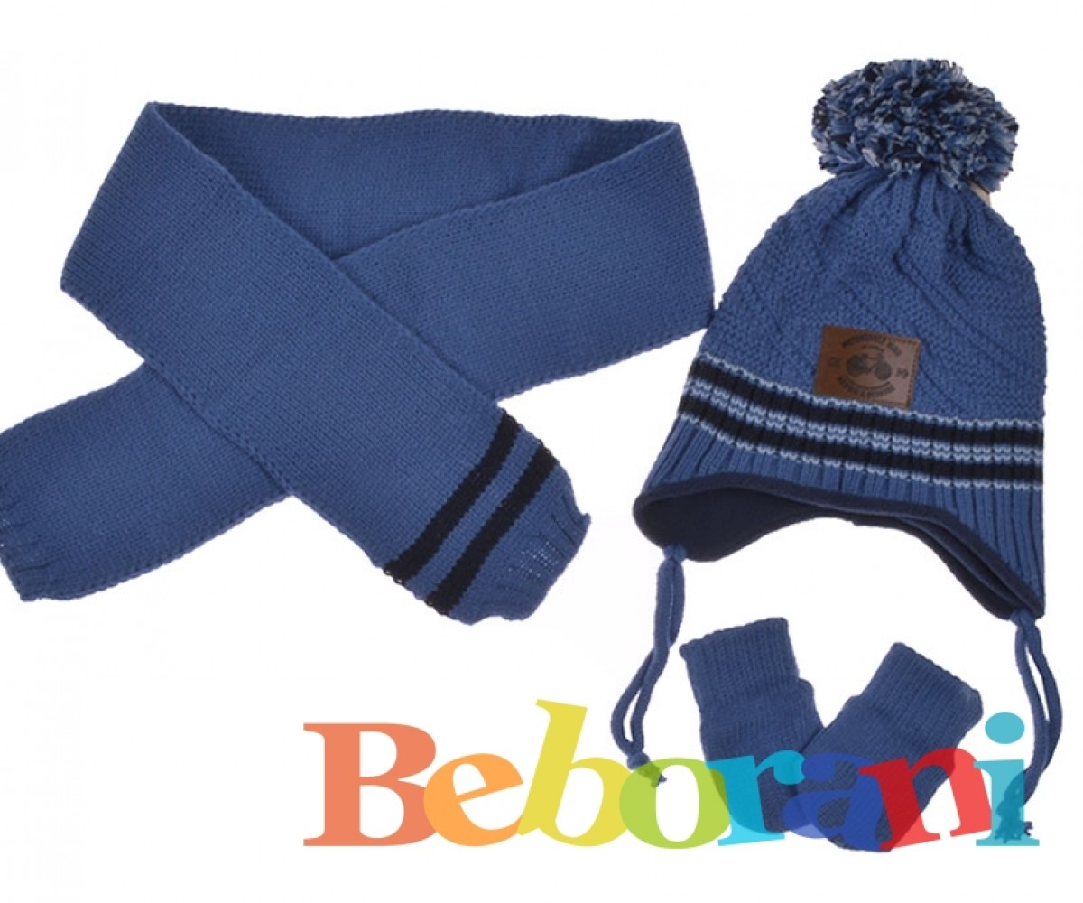 3b45fd72566 Комплект с шапка, шал и ръкавици момче Kitti-колело синьо   Шапки ...